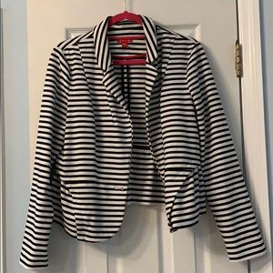 Black and white soft blazer with flattering seams